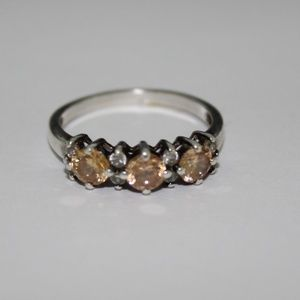 Ring sterling silver yellow stones sz.10